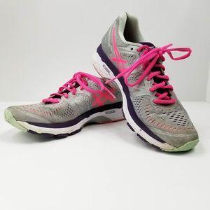 ASICS  Womens Sz 8 Silver Hot Pink running shoe